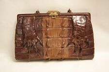 Vintage Purse Handbag Genuine Original ALLIGATOR LEATHER CLUTCH w/ CLAWS - EXC!