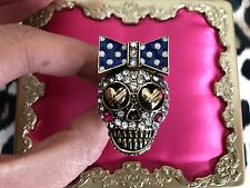 Betsey Johnson HUGE Gold Girl Skull Bow Ivy League Crystal Stretch Ring RARE