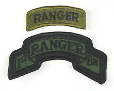 US ARMY 1ST BN RANGER TABS - 2 PIECES ACU PATCH GREEN OD COLOUR-32774
