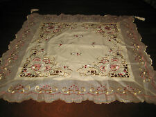 """Floral Embroidered Tablecloth Tassels Beautiful Cutwork Card Table 33"""" Square"""