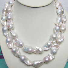 HUGE 15-25MM SOUTH SEA GENUINE WHITE BAROQUE PEARL NECKLACE 35 INCH