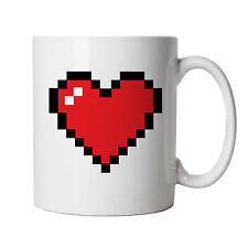 Pixel Heart Mug - PCGamer Gift for Her Him, Birthday