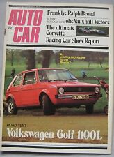 Autocar 11/1/1975 featuring VW Golf road test, Chevrolet Corvette, Broadspeed