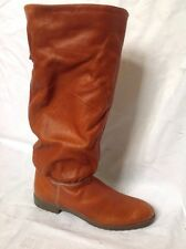 Ladies Brown Mid Calf Leather Boots Size 7M (Uk 5)