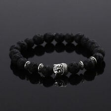 Handmade Men/Women Lava Rock Bracelet Natural Gemstone Beads Buddha Head Beaded