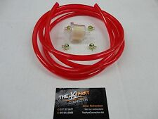 "RED 1/4"" FUEL LINE & FILTER KIT SNOWMOBILE DIRT BIKE QUAD MOTORCYCLE GOLF CART"