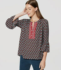 NWT Ann Taylor LOFT Autumn Floral Bell Sleeve top blouse Medium