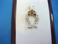 "!LOVELY ""GOOD LUCK"" HORSE SHOE PENDANT CHARM WITH DIAMONDS AND AMETHYST, 4 GRAMS"