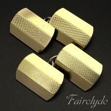 Fine Quality Vintage Art Deco 9ct Gold On Silver Gents Cufflinks Gift Boxed !