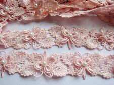 """2y Butterfly 1.25"""" Lace Edge Trim Pearl Wedding Applique DIY Sewing Crafts"""