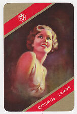 1 SINGLE VINTAGE SWAP PLAYING CARD COSMOS LAMPS ADVERT LOVELY LADY GOLD/RED