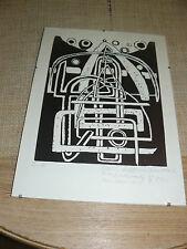 Linolschnitt - Radierung mit Wechselrahmen - Max Ackermann - Abstrakt - 1947