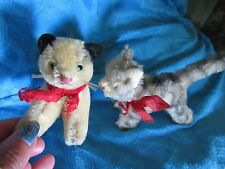 VINTAGE OLD STEIFF PAIR 2 CAT KITTENS TIGER TABBY ? RARE SIAMESE TAPSY ? ANTIQUE