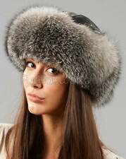 Samantha Silver Fox Fur Roller Hat with Leather Top -Brand: frr -Made in Canada