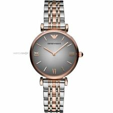 Designer Emporio Armani AR1725 Ladies Grey and Rose Gold Gianni T-Bar Watch