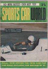 Sports Car World 1961 Feb Aston Martin Daimler DB4 Go Karting Fiat 1500 Racing
