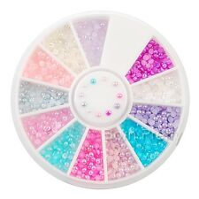 300pcs/Wheel 2mm Colorful Half Pearls for Acrylic UV Gel Nail Art Decoration Set