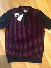 Fred Perry Drakes Graphic Knitted Shirt Mens Medium Rosso Black BNWT