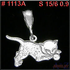 #1113A Kitty Cat Charm  Hello 925 Sterling Silver Jewelry Pendant Necklace Etsy