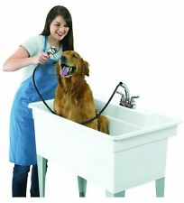 "Utility Tub Large Pet Bath Spa 40"" Sink Basin Dog Wash Laundry Garage Faucet NEW"