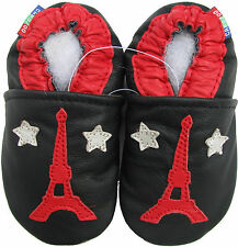 carozoo Eiffel Tower star black 7-8y soft sole leather kids shoes slippers