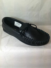 MENS BLACK REAL LEATHER MOCCASIN SLIPPERS,ENGLISH, BOAT SIZE 13