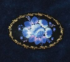 Purple Floral Hand painted on Black Brooch from Russia