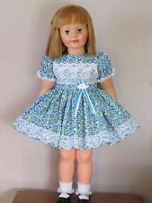"PRETTY BLUE FLORAL DRESS FOR 35"" PATTI PLAYPAL DOLL CLOTHES"
