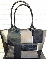 COACH Black Silver Multi Patchwork Genuine Leather Suede Tote Hand Bag Free Ship