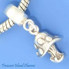 MUSHROOM SPOTTED .925 Solid Sterling Silver EUROPEAN EURO Dangle Bead Charm