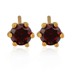 Trendy Womens 14K gold filled Round Ruby Small Stud Earrings Free Shipping