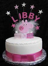 Fatto a mano Compleanno Nome/Età cake topper Peppa Pig