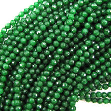 "4mm faceted emerald green jade round beads 15"" strand"