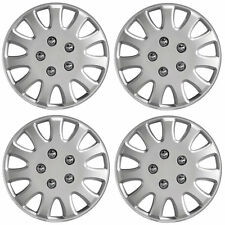 "Ikon 14"" Car Wheel Trims Hub Caps Plastic Covers Set of 4 Silver Universal"