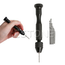 Hot Micro Aluminum Hand Drill Keyless Chuck + 10pcs Twist Drills Rotary Tools