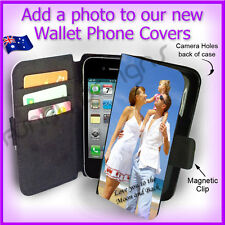 Personalised PHOTO Apple iPhone 4 4G 4S Wallet Flip case PICTURE cover Logo
