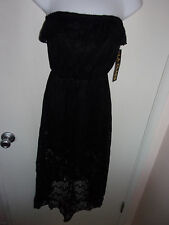 LA Class womens medium black lace dress-tube-halter-sheer-new-little-sexy-ruffle