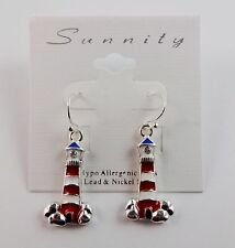 Lighthouse earrings silver red white blue hook dangle Sunnity