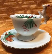 Miniature Deer Handle Pine Cone Motif Cup And Saucer Vintage Japan Collectible