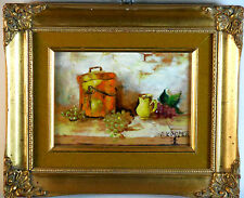 Enamel on Copper Painting of Still life & Pottery by J. Kooper