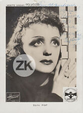 EDITH PIAF Disque Polydor HARCOURT Faivre AUTOGRAPHE Photo 1930s