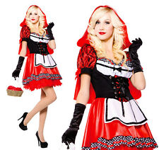 Donna Sexy Little Red Riding Hood Costume Outfit UK 10-14