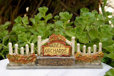 Miniature Dollhouse FAIRY GARDEN ~ Fall THANKSGIVING Harvest Orchards Fence Sign