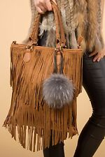 Jayley Collection Grey Bag Tassel Handbag Tassel Fox Fur Charm