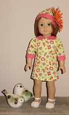 "Handmade Doll Clothes fits/for 18 in. American Girl ~ ""Flower Child"" Dress & Hat"