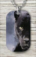 """BLACK PANTHER WILD LIFE CLOSE UP DOG TAG PENDANT and """"FREE CHAIN"""" -tyd4Z"""