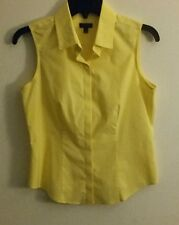 talbots 4 petite sleeveless button down summer blouse yellow