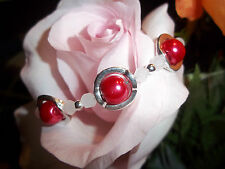 Hot Tibetan Silver Fashion Red Glass Pearl & White Crystal Bead Bracelet S-10