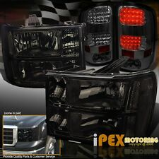 BlackOut 07-13 GMC Sierra 1500 2500HD Smoke Headlights + LED Smoked Tail Lights