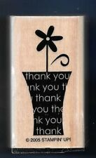 THANK YOU FLOWER POT Daisy Words Card Stampin Up! 2005 wood mount RUBBER STAMP